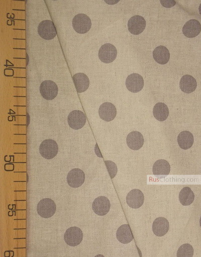Linen fabric from Russia ''Dark gray polka dots on gray ''