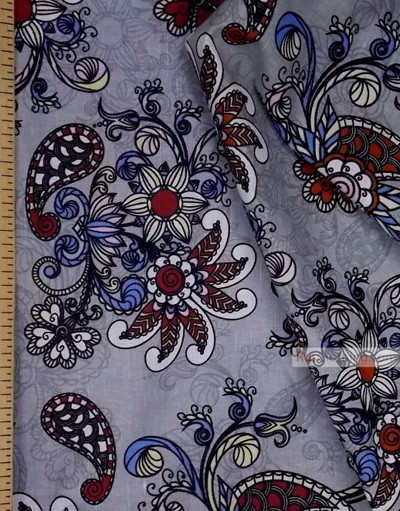 Tissu lin de Russie ''Patterns On gray-Blue''