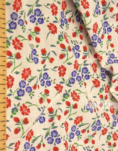 Linen fabric from Russia ''Red, Blue Flowers On White ''