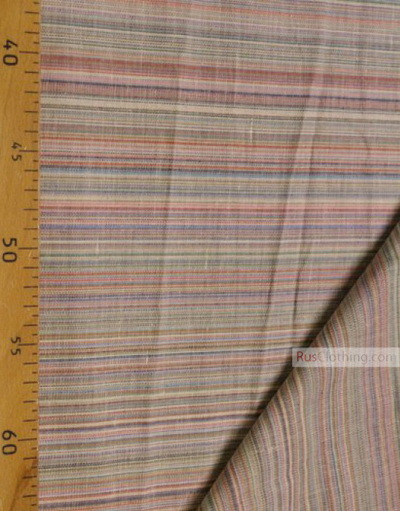 Linen fabric from Russia ''Pink, turquoise strips ''