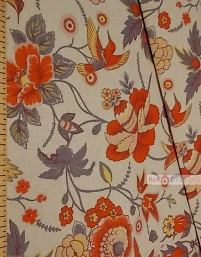 Linen fabric from Russia ''Hummingbirds On Flowers ''