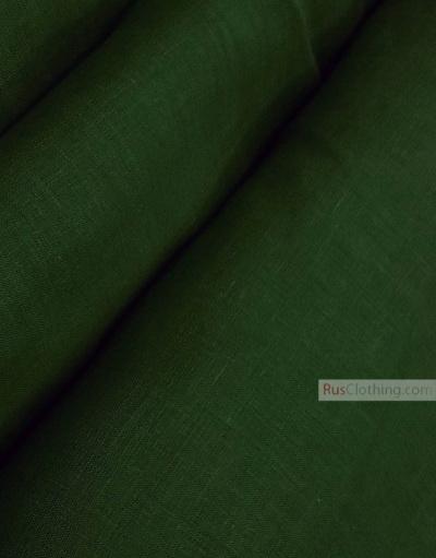 Linen fabric from Russia ''Dark Green ''