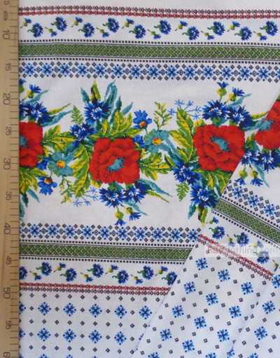 Floral Linenby the yard ''Poppies and cornflowers with white ornament ''