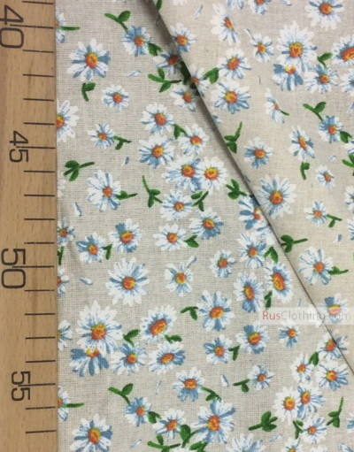 Linen fabric from Russia ''Medium Daisies On Light gray ''