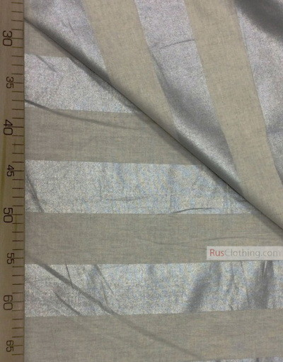 Tissu lin de Russie ''Silver stripe on light gray''