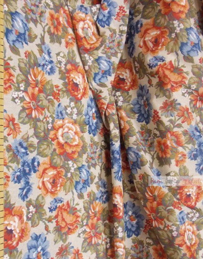 Linen Jacquard Fabric ''Red-blue flowers on beige ''