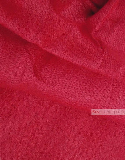 Linen fabric from Russia ''Crimson-Red ''