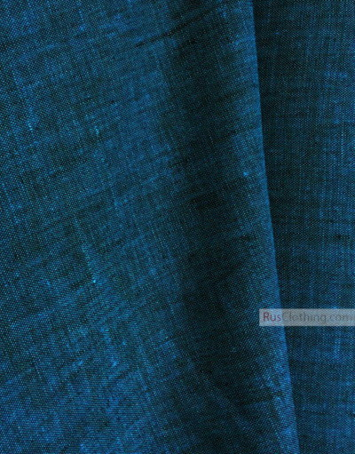Linen fabric from Russia ''Black And Turquoise ''