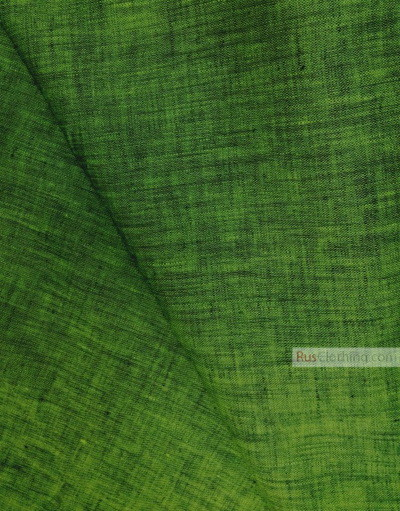 Linen fabric from Russia ''Black And Green ''