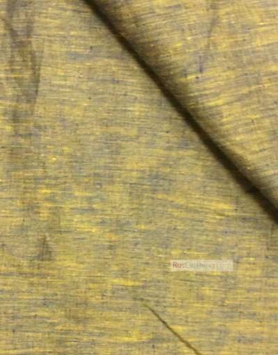 Linen fabric from Russia ''Blue-Yellow ''