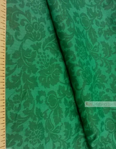 Linen fabric from Russia ''Green flowers on emerald ''