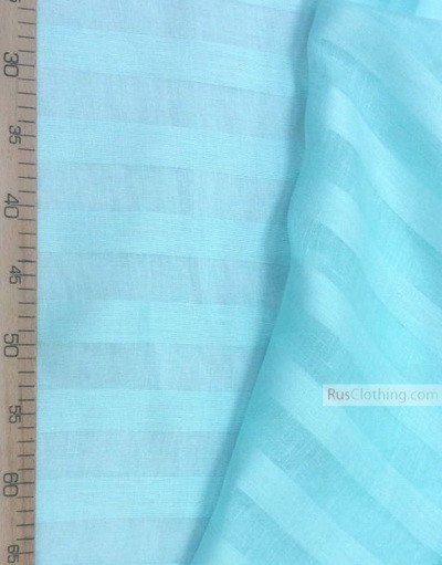 Linen fabric from Russia ''Turquoise Strips  ''