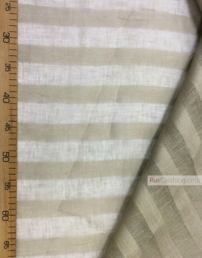 Linen fabric from Russia ''Latte Strips ''