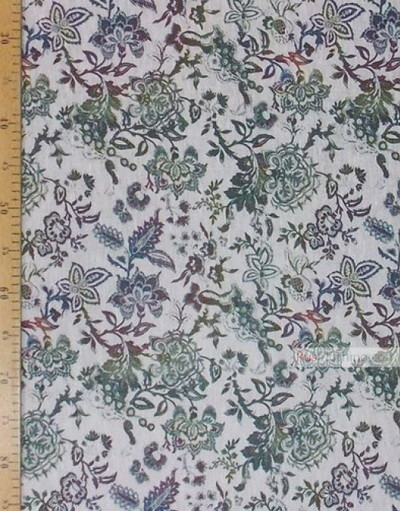 Linen fabric from Russia ''Flowers On White ''