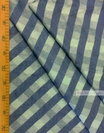 Linen fabric from Russia ''Diagonal blue bar ''
