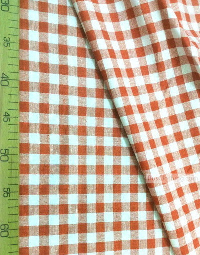Linen fabric from Russia ''Red and white cell ''