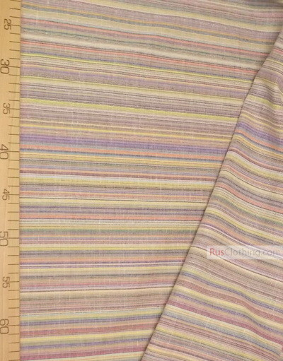 Tissu lin de Russie ''Yellow-blue strips''