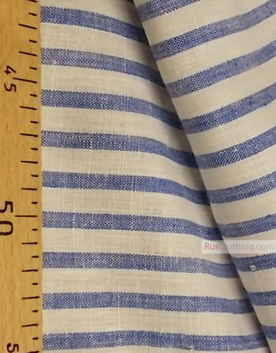 Linen fabric from Russia ''White-blue strips ''
