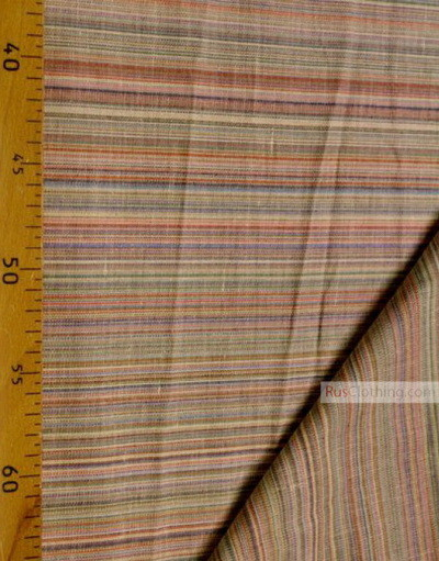 Tissu lin de Russie ''Bue-orange strips''
