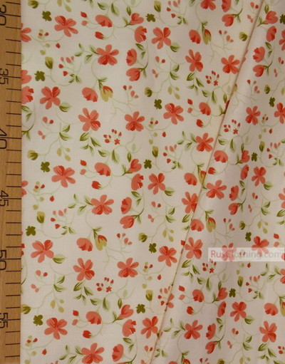 Floral cotton fabric by the yard ''Medium Red Flowers On A Light Cream Field''}