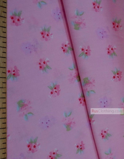 Floral cotton fabric by the yard ''Pastel Flowers On Pink''}