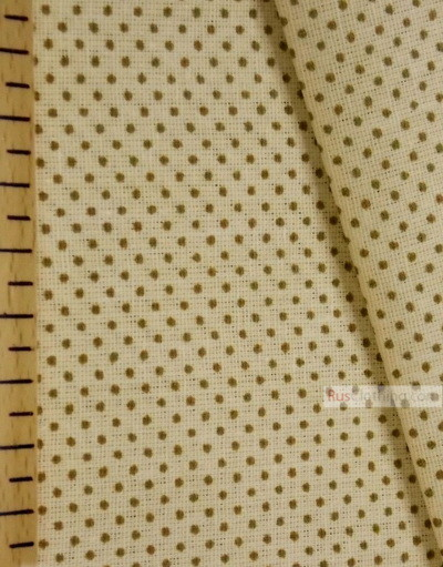 Vintage Fabric Prints by the yard ''Polka Dot-Brown Dot On The Yellow''}