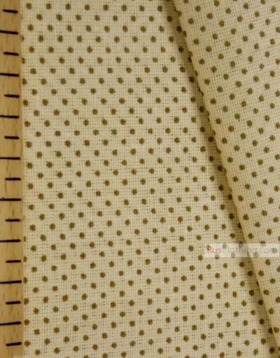 Tissu vintage au metre ''Polka Dot-Brown Dot On The Yellow''}
