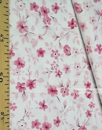 Floral cotton fabric by the yard ''Purple-Pink Flowers On Milk''}