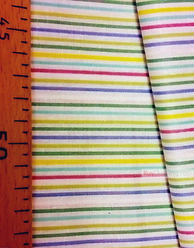 Geometric Print Fabric ''Bright Strip On White''}