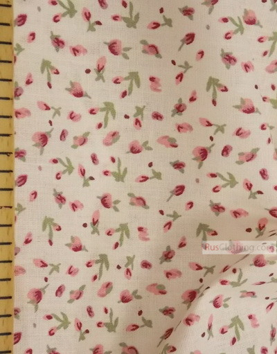 Floral cotton fabric by the yard ''Flower On White''}