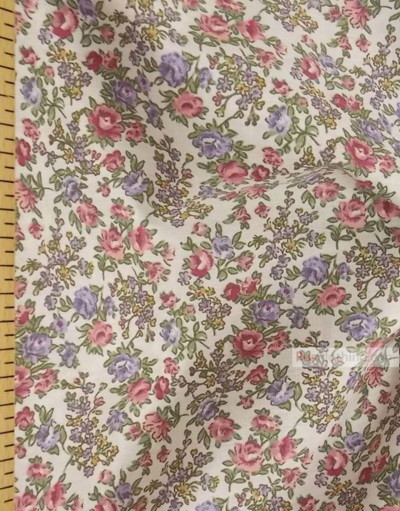 Floral cotton fabric by the yard ''Bouquet Of Flowers On White''}