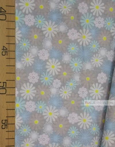 Tissu coton fleuri au metre ''Pastel Daisies On Grey''}