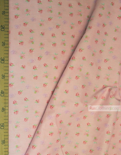 Floral cotton fabric by the yard ''Pink Roses On Pink''}