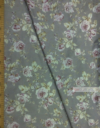 Tissu coton fleuri au metre ''Light Purple Rose On Gray''}