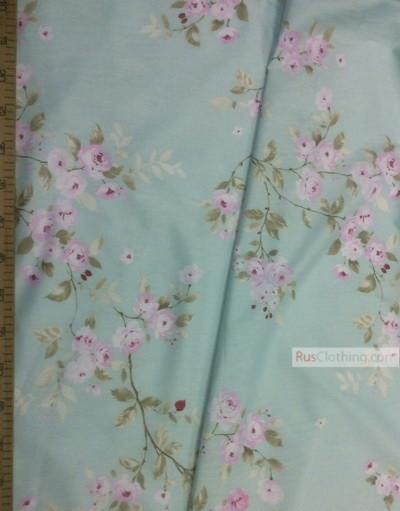Floral cotton fabric by the yard ''Pink Roses On Mint''}