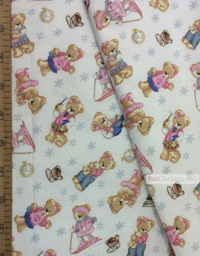 Nursery Fabric by the Yard ''Bears Among Snowflakes On White''}