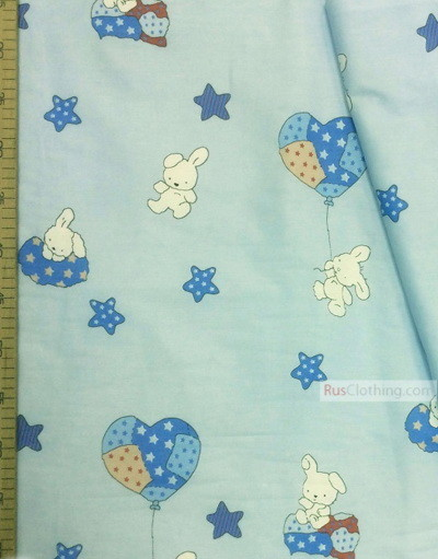Childrens Fabric by the Yard ''Bunnies And Air Pants On Blue''}