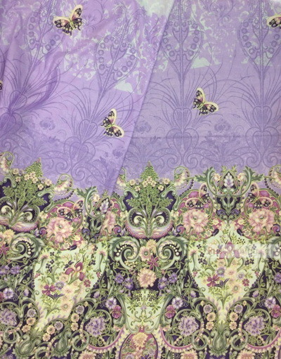 Fabric Folk Decorations by the yard ''Lilac Flowers With Butterflies''}