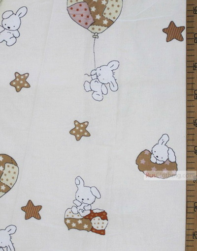 Tissu pour bébé au metre ''Bunnies And Balloons On The Cream''}