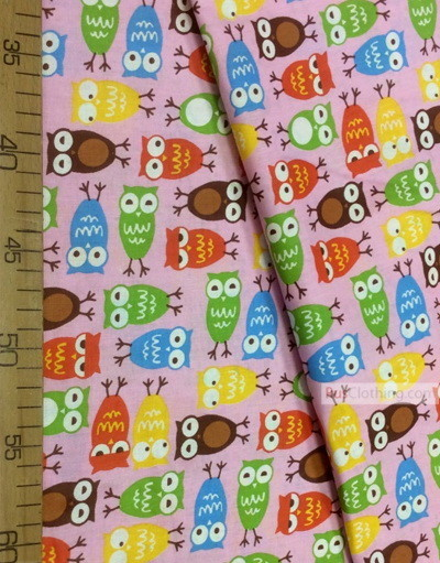 Kids Fabric by the Yard ''Colored Owls On Pink''}