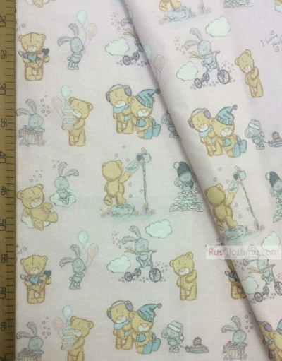 Childrens Fabric by the Yard ''Bears And Bunnies In Pink''}