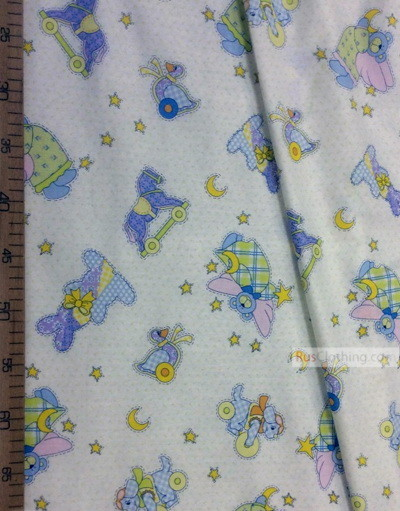 Baby Quilt Fabric by the Yard ''Animals And Stars''}