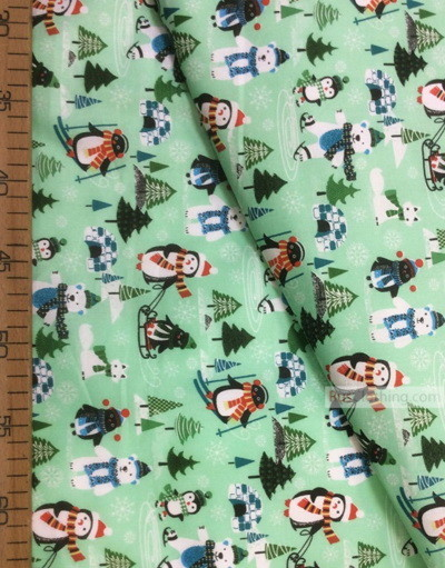 Baby Materials by the Yard ''Penguins And Bear In The Winter Forest''}