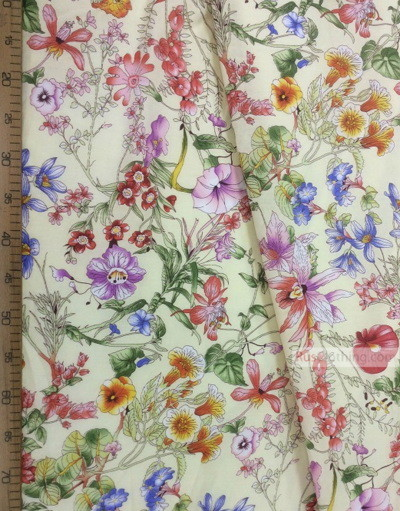 Russian Floral Fabric ''Wildflowers On Cream''}