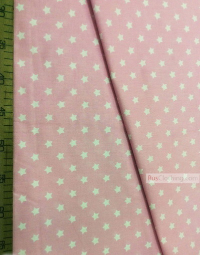 Tissu enfant au metre ''White, Small Star On Pink''}