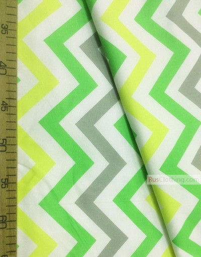 Baby fabric by the Yard ''Color Zigzag On White (Yellow, Green, Gray)''}