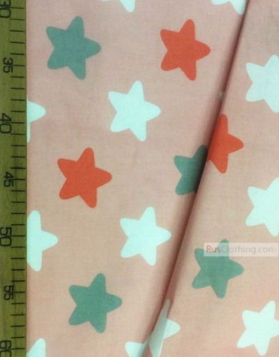 Baby fabric by the Yard ''Star-Gingerbread Color On Pink (White, Gray, Red)''}