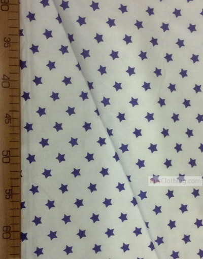Nursery Fabric by the Yard ''Blue, Small Star On White''}