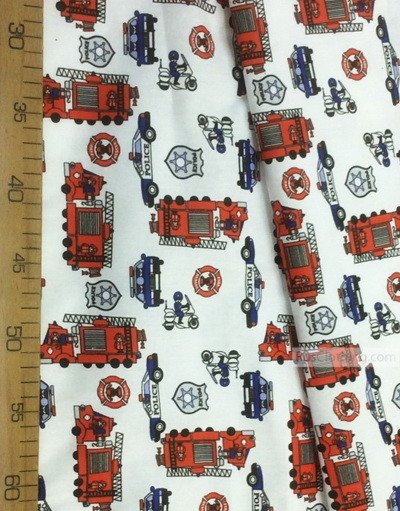 Kids Fabric by the Yard ''Firefighters And Police''}