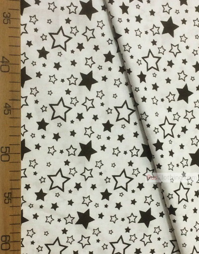 Baby fabric by the Yard ''White, Black Stars On White''}